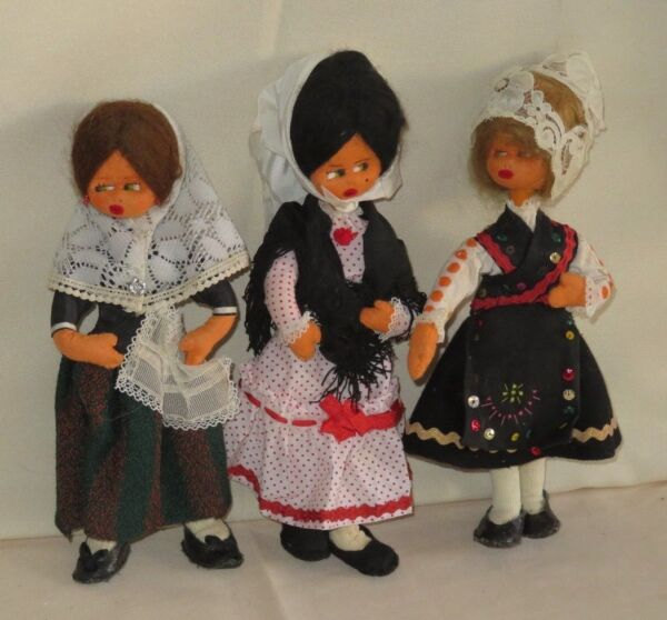 LOT 3 Dolls Vintage Felt Regional Made in Spain Spanish