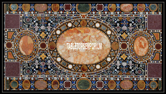 8'x4' Exclusive Marble Dining Table Handmade Inlaid Marquetry Art Mosaic Decor