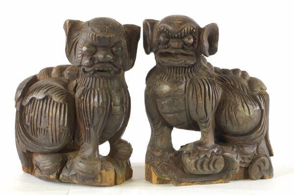 Pair of Antique Chinese Wooden Statue Animal Foo Dog / Lion, 19th c
