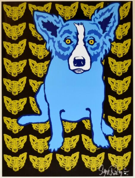 George Rodrigue Blue Dog I Am Always With Myself Yellow Silkscreen Print Signed