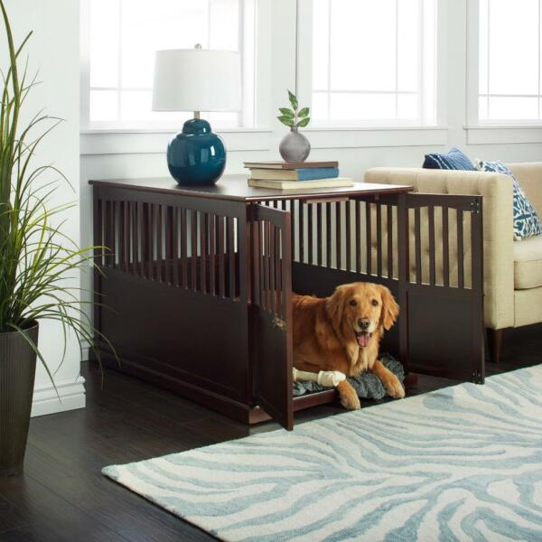 Wood Extra Large Dog Pet Crate Espresso Solid End Table Wooden Furniture Cage