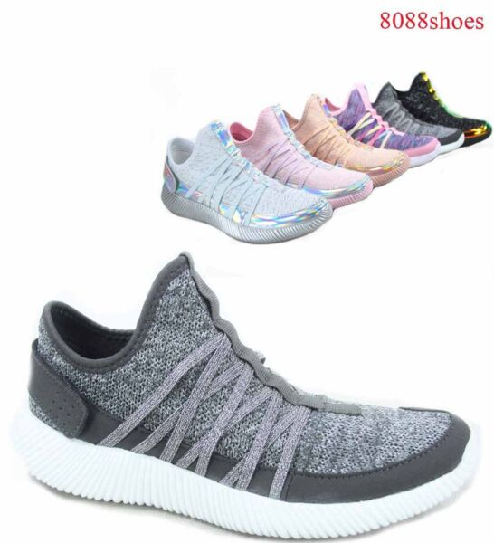 Women's Causal Knit Strappy Slip On Light Weight Fashion Sneaker Size 5 - 11 NEW