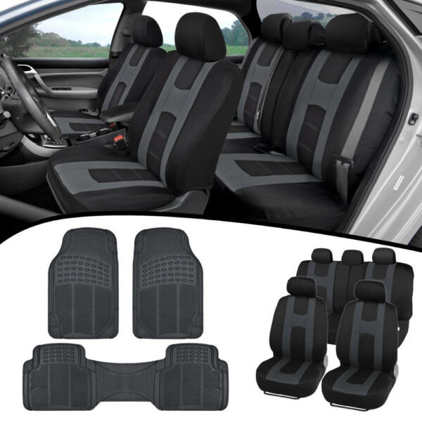 Car SUV Van Seat Covers amp; All Weather Rubber Floor Mats Full Interior Set $38.50
