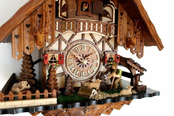 cuckoo clock black forest 8 day original german  farmer sheep new