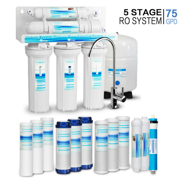 5 Stage Undersink Drinking Reverse Osmosis System With 12 Water Filters 75GPD