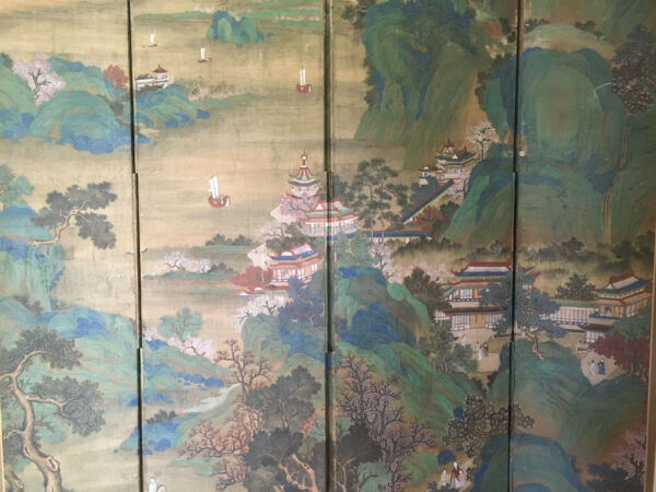 Huge and Important Chinese Antique Painting on Silk Room Screen Artist Signed.
