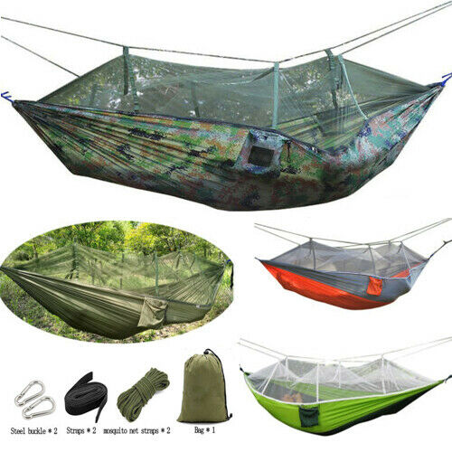 Military Jungle Hammock Mosquito Net Camping Travel Parachute Hanging Bed Tent $23.74