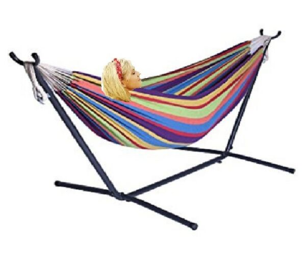 X-Factor 9 Ft Double Cotton Hammock With Space Saving Steel Stand Purple Strip