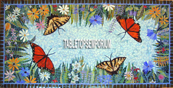 8'x4' Marble Inlay Butterfly Lapis Stone Living Room Top Dining Table Decor Arts