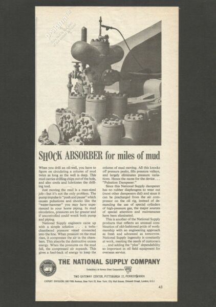 PULSATION DAMPENER by The National Supply Company    1959 Vintage Print Ad