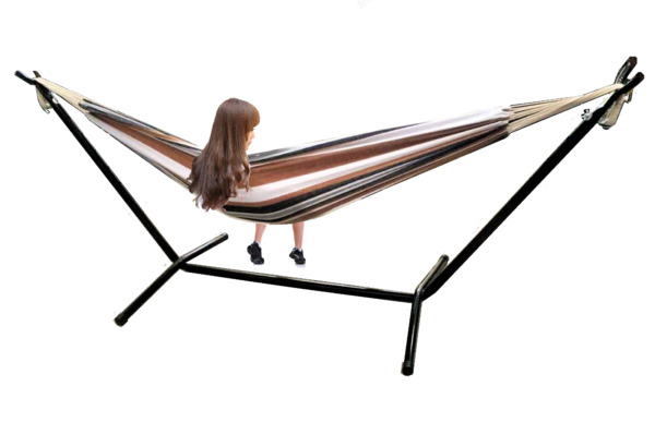 X-Factor 9 Ft Double Cotton Hammock With Space Saving Steel Stand Desert Strip