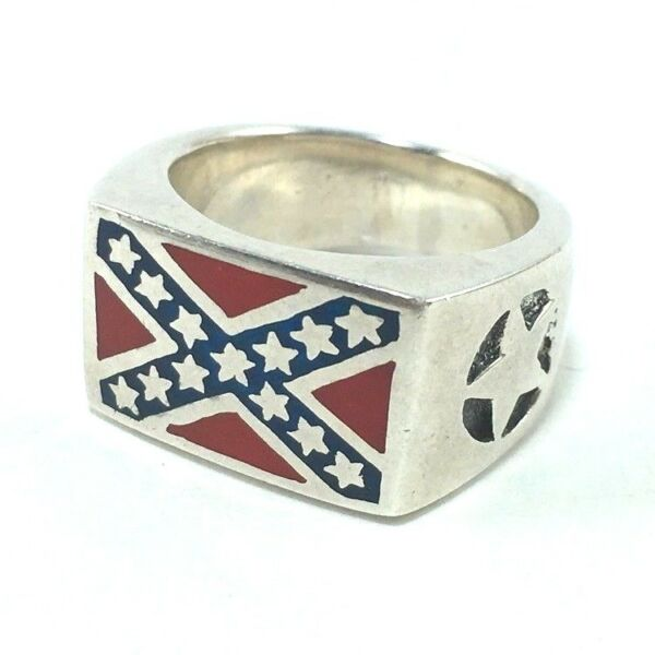 RETRO 925 SILVER AMERICAN USA INDEPENDENCE FLAG MEN WOMEN PUNK BIKER RING SZ 7.5