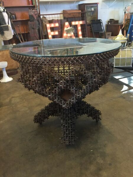 Rare Large Scale Primitive Tramp Art Crown of Thorns & Glass Top Pedestal Table