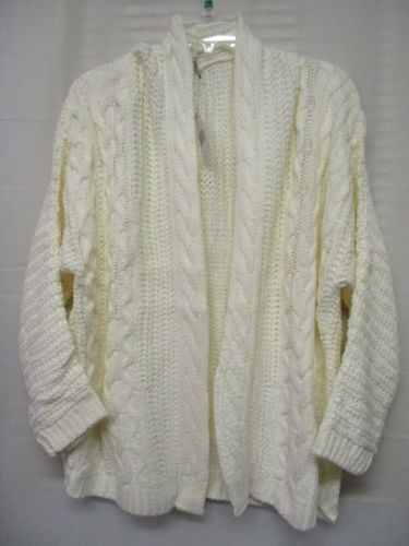 Cool Attitude Women's Super Chunky Cable Knit Ivory Sweater Cardigan Size M