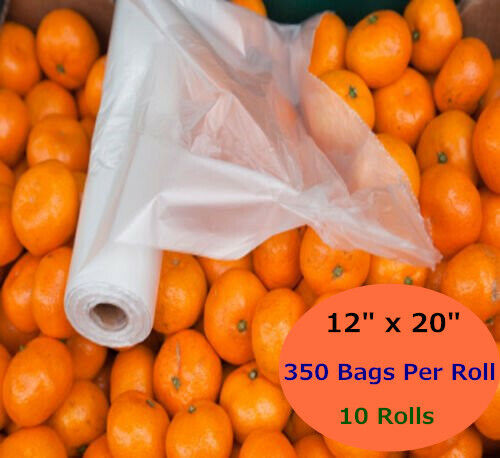 10 Rolls 12 x20  Plastic Produce Bags on a Roll Food Bread Storage Kitchen Fruit