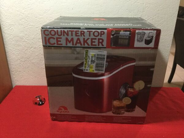 Igloo Counter Top Ice Maker Produces 26 pounds Ice per Day RED