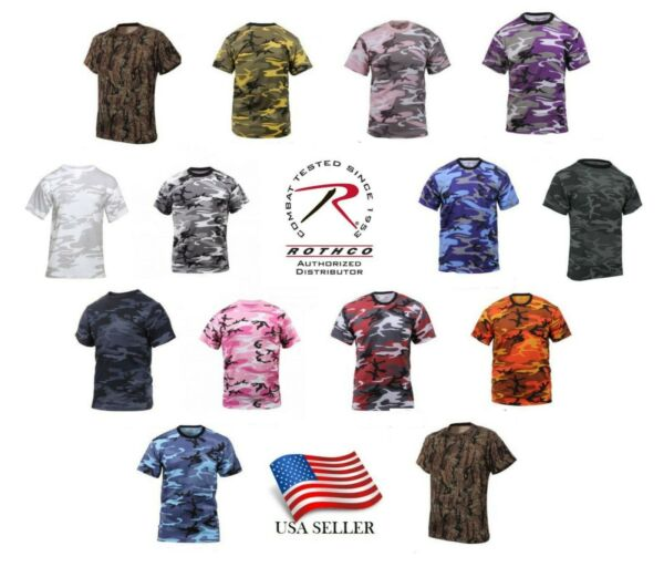 Camo T Shirt Military Tee Short Sleeve Camouflage Army Tactical Uniform Tshirt