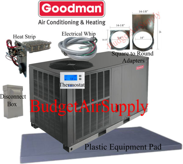4 Ton 14 seer Goodman HEAT PUMP Package Unit GPH1448H41+tstat+ INSTALL KIT