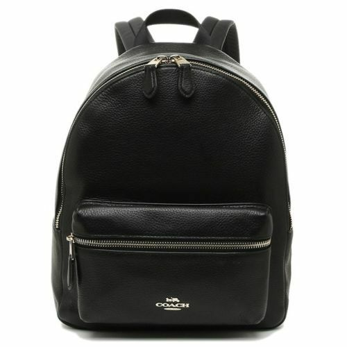 New Authentic Coach F30550 Medium Charlie Backpack in Pebble Leather Black