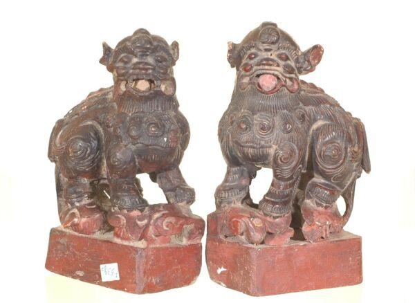 Pair of Antique Chinese Red Wooden Statue Animal Foo Dog / Lion, 19th c
