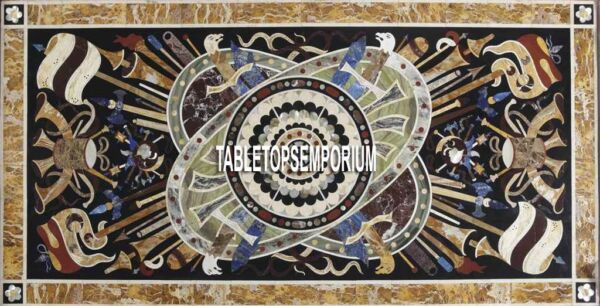 8'x4' White Marble Top Table Marquetry Inlay Art Musical Instrument Design Decor