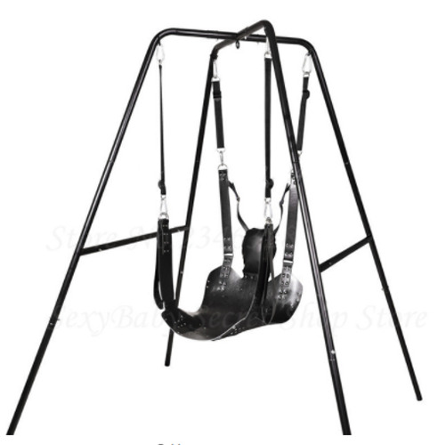 Quality Leather Swing Seat Metal Stand Bracket Rack Holder Sex Hammock Furniture
