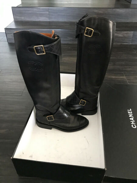 RARE CHANEL Black Leather Polo Riding Buckled Knee High Tall Flat Boots 36 $2150