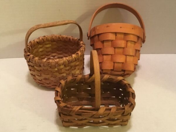 3 ASSORTED SMALL COUNTRY BASKETS FOR CRAFTS  ETC!