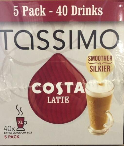 TASSIMO Costa Latte Coffee 8 servings (Pack of 5 Total 80 discspods)