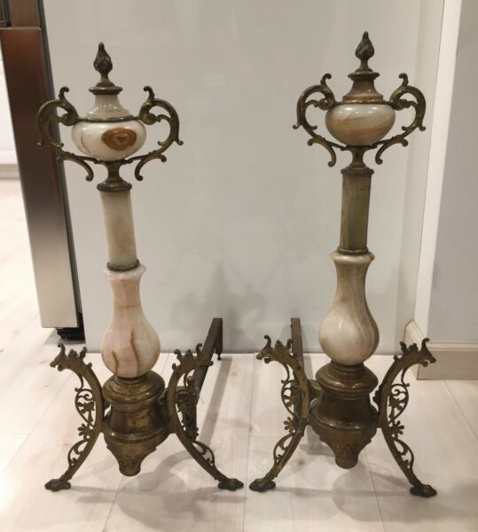 LARGE FANCY PAIR OF ANTIQUE 19TH CENTURY BRASS AND ONYX ANDIRONS