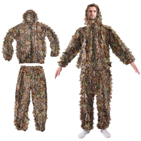 Leaf Ghillie Suit Woodland Camo Camouflage Clothing 3D jungle Hunting L  XL #BP