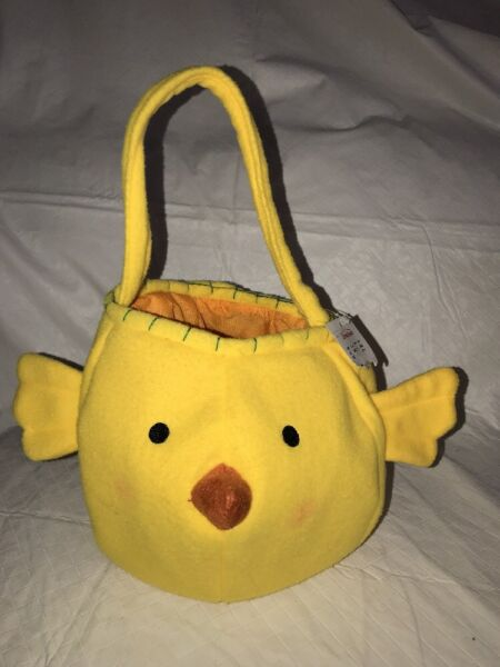 """YELLOW Baby Chick Easter Basket Pail Plush Fabric Lined 12"""" ANIMAL NWT"""
