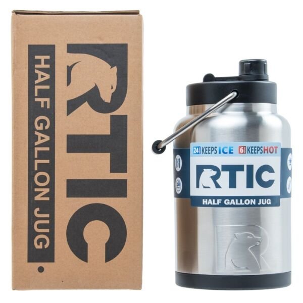 RTIC® Half Gallon Water Bottle  Tumbler Insulated Stainless Steel Jug 64 oz