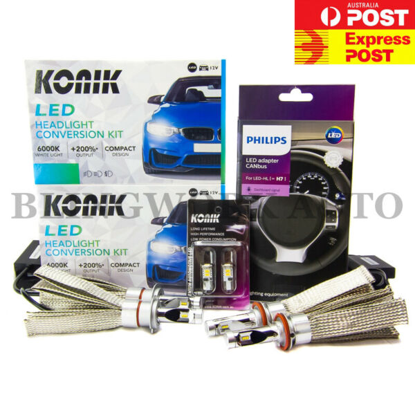 KONIK LED Hi Lo Beam Headlight H7 H9 T10 CANbus Holden VF Commodore HSV Maloo R8