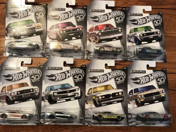 2018 Hot Wheels 50th Anniversary ZAMAC Set of all 8 Cars Walmart Exclusive Ford