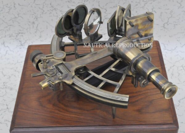 100%Working Nautical Reproduction With Box Micrometer Drum Readout Brass Sextant