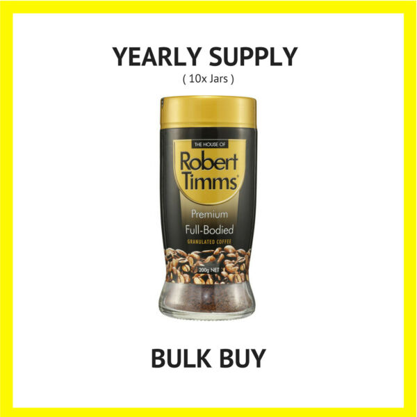Robert Timms Instant Coffee Premium Full-bodied 10x200g YEARLY SUPPLY  BULK BUY