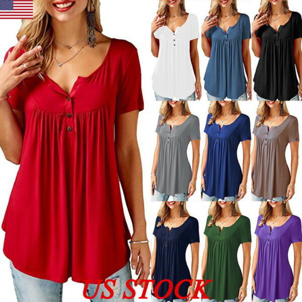US Plus Size Women Blouse Pleated Button Ladies Summer T Shirt Loose Casual Tops
