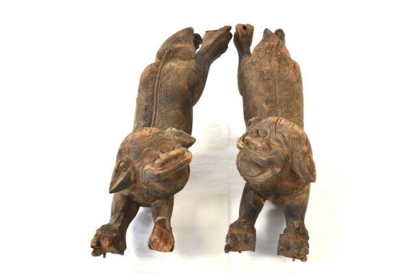 Pair Antique Chinese Wood Carving Architectural Statue Fu Foo Dog, Ming / Qing