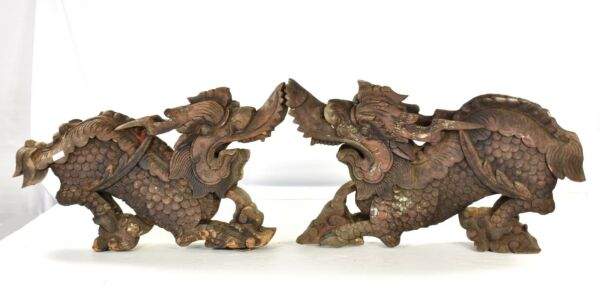 Pair Antique Chinese Wood Carving Architectural Carved Statue of Dragon, 19th c