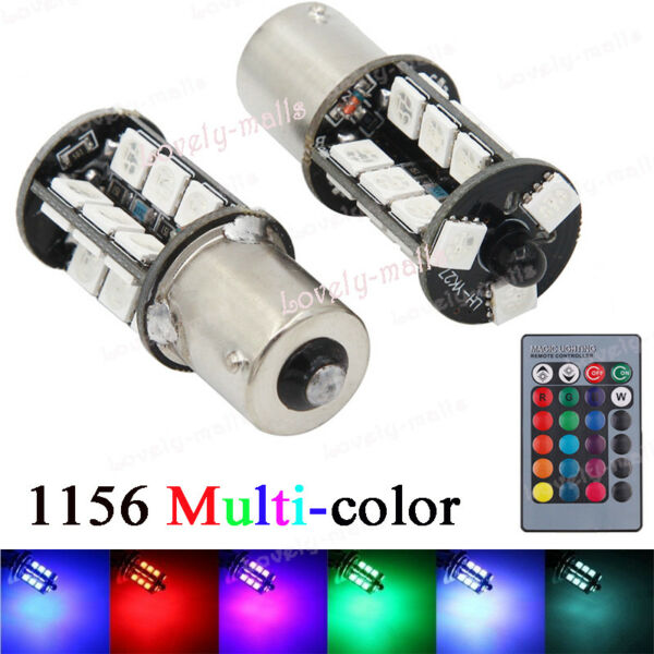 1156 1141 27SMD LED Turn Singal Backup Reverse Light Bulbs RGB Yellow Ice Blue