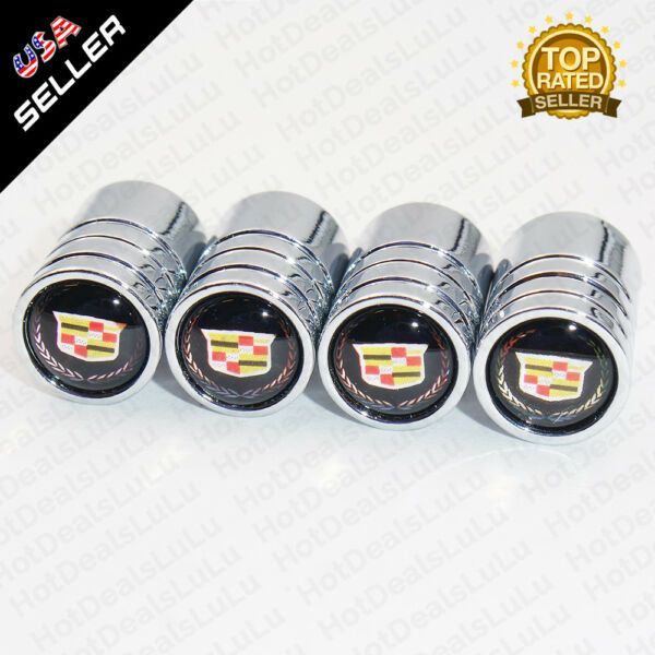 Silver Chrome Auto Car Wheel Tire Air Valve Caps Stem Cover With Cadillac Emblem