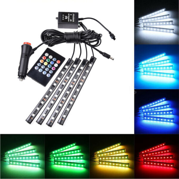4PC 9 LED Car Interior Accessories Floor Decorative Atmosphere Strip Lamp Lights