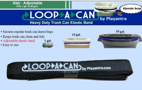 1 Trash Can Rubber Band Adjustable Garbage Can Band fits 1 to 55 gal no hook $2.99