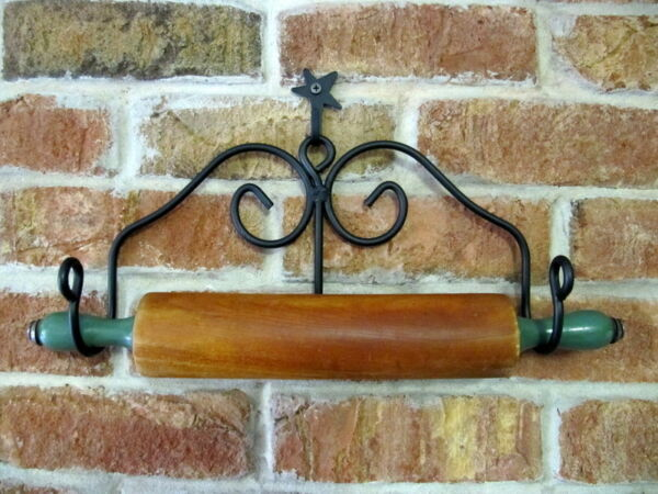 Amish forged black wrought iron hanging rolling pin holder sturdy strong metal
