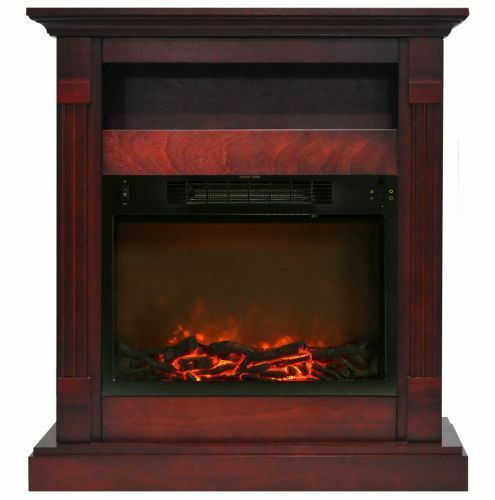 34 In. Electric Fireplace with 1500W Log Insert and Cherry Mantel