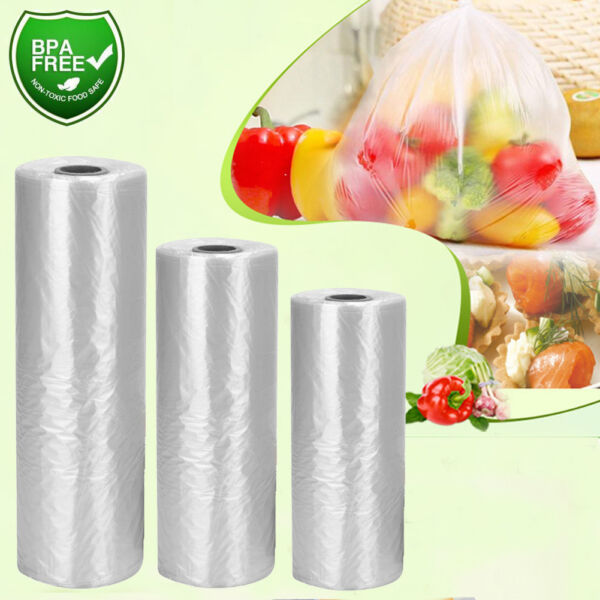 350 Bags  Roll Clear Plastic Produce Bags On Roll Kitchen Food Storage Fruit
