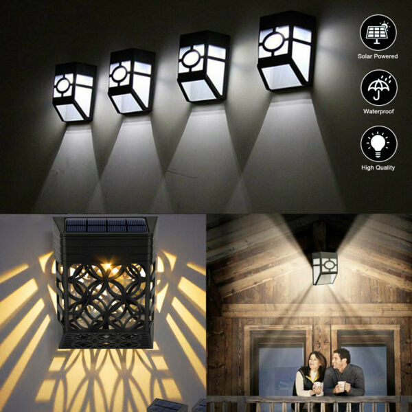 Waterproof Solar Lights Motion Sensor Wall Light Outdoor Garden Yard Lamp 2 LED