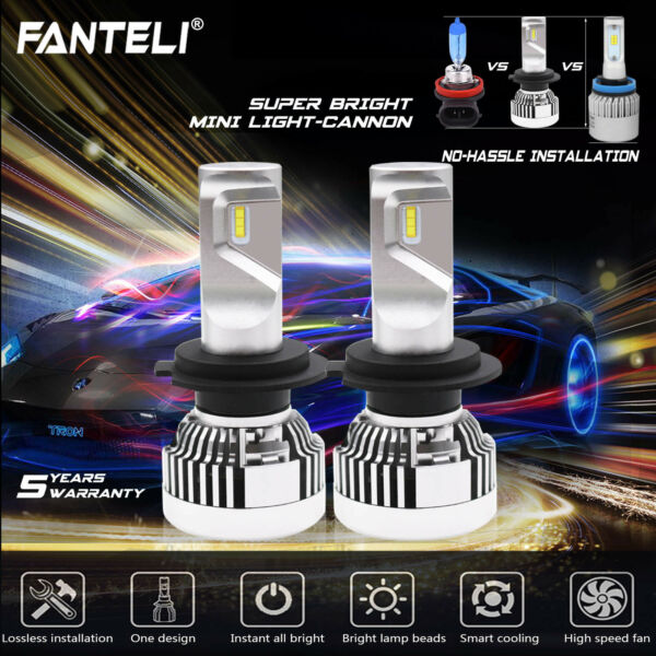 CREE Fanless LED Headlight Kit H7 White Power 6000K 1550W 232500LM Car Low Beam