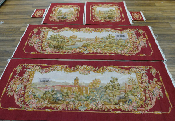 French Castle Vintage AUBUSSON Hand Woven Sofa Cover SILK WOOL Luxury Burgandy